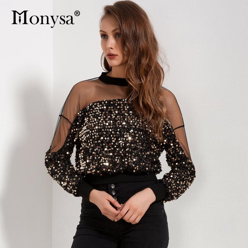 e13137e1d8e20f 2019 Sequin Top Women 2018 Spring New Arrivals Fashion Long Sleeve Mesh  Patchwork Blouses Ladies Hollow Out Crop Tops Streetwear From Vanilla04, ...