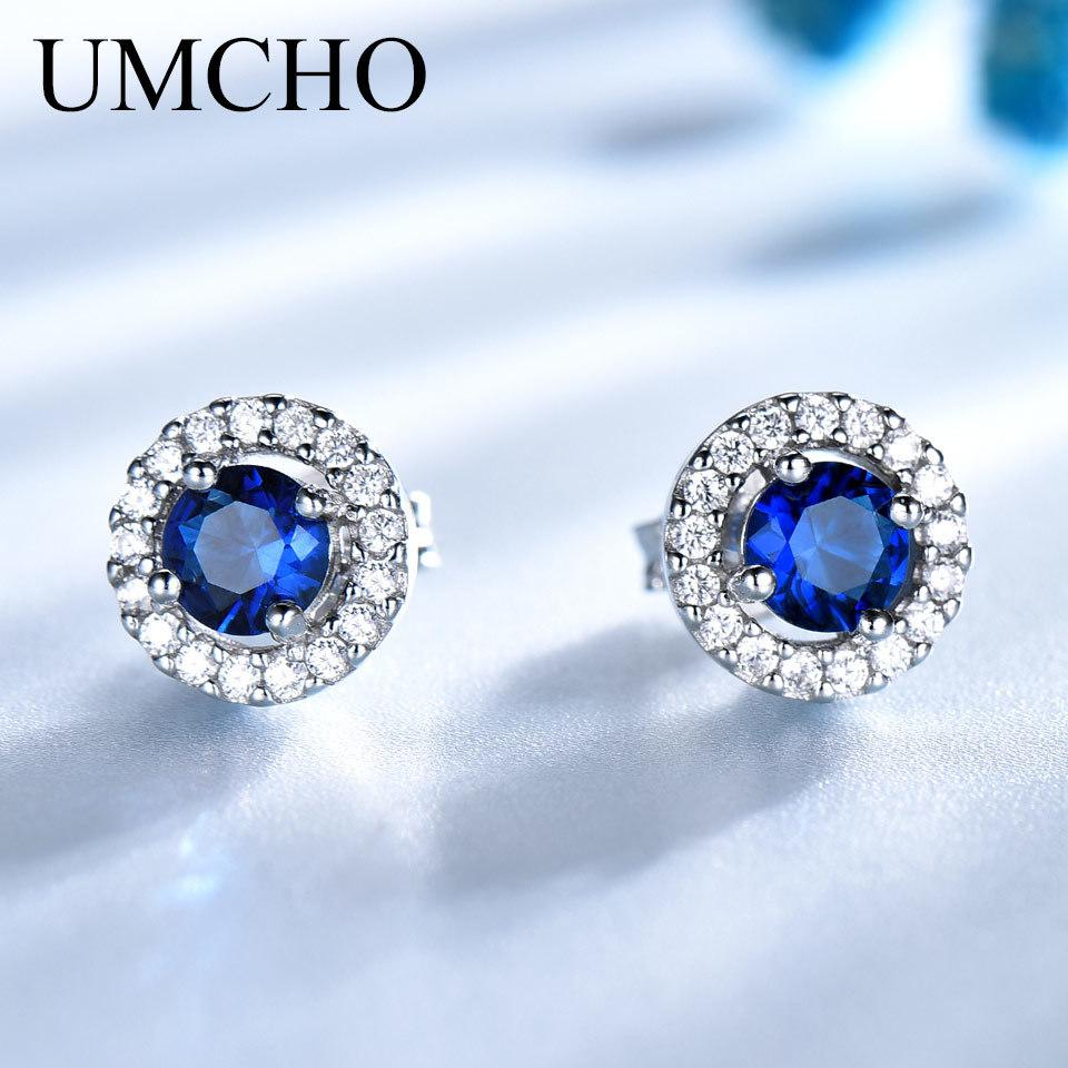 4baaca8ff 2019 UMCHO Real 925 Sterling Silver Jewelry Round Rich Color Nano Sapphire  Stud Earrings Gemstone Luxury Bride Gift For Women S18101307 From  Shen012001, ...