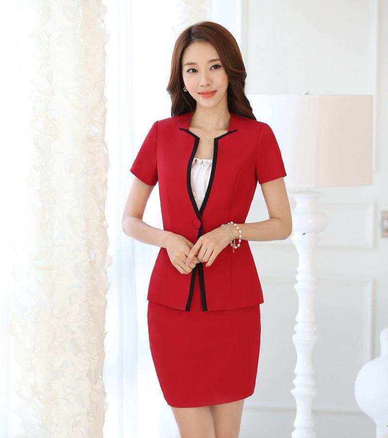 Compre Moda De Verano Blazer Rojo Mujeres Falda Trajes Conjuntos De Chaqueta  Oficina Damas Trajes De Negocios Uniforme Estilo OL A  52.66 Del Octavi ... 06f15eeecc1c