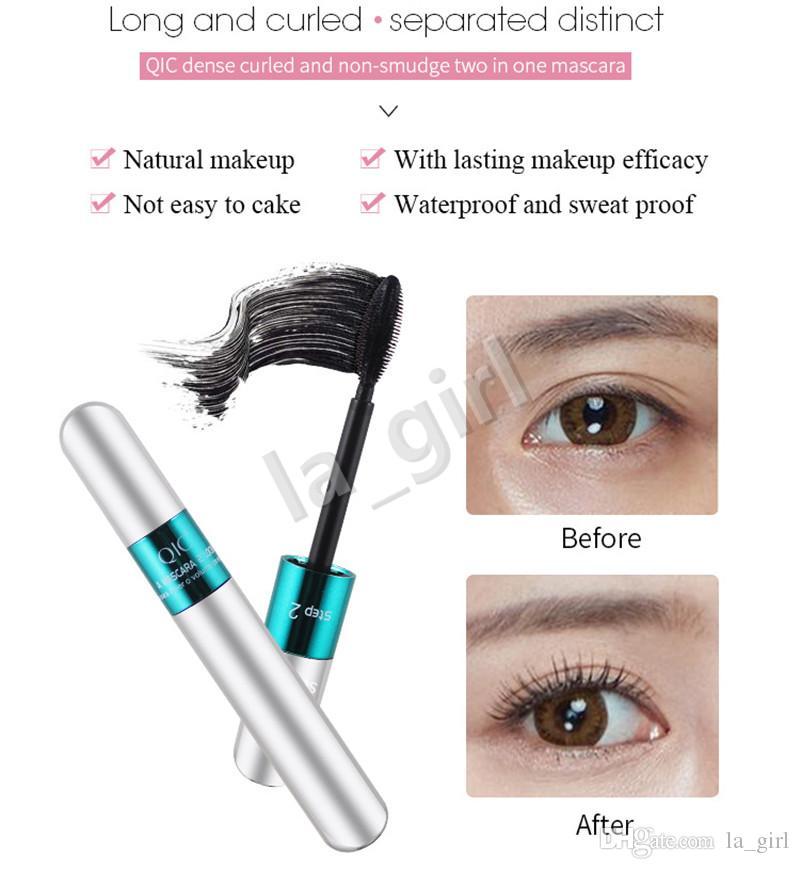 Mascara QIC Waterproof Mascara Denso a prova di sudore lungo con testina a 360 gradi con testa color argento