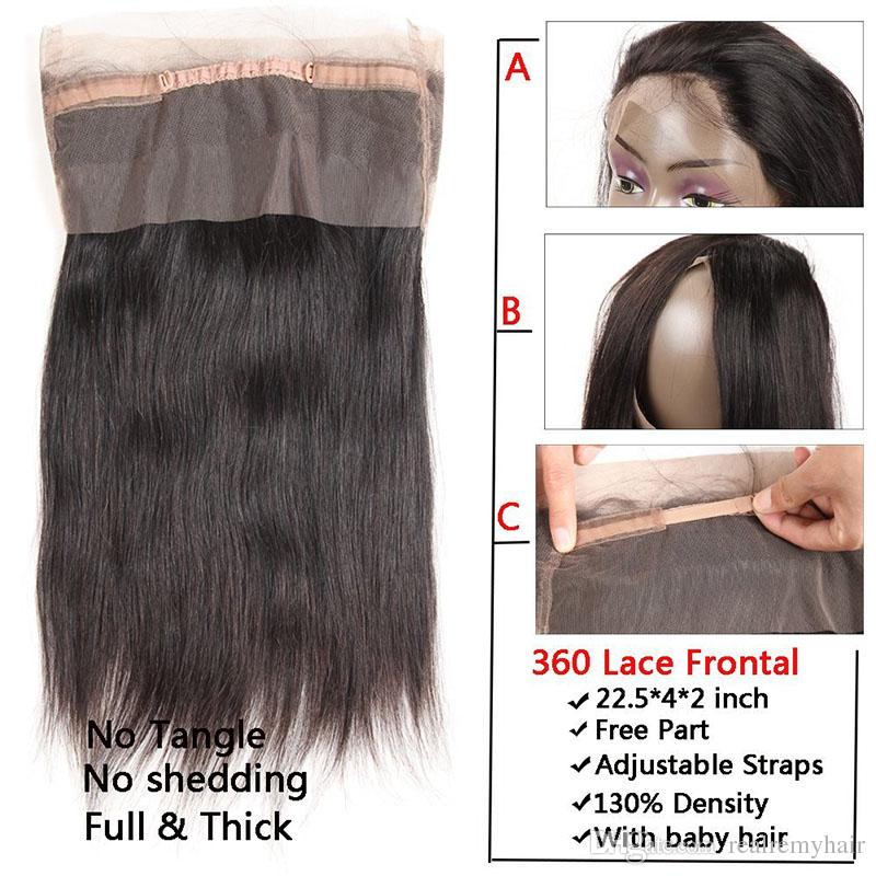 Brazilian Straight Human Hair Weave With Lace Frontal Closure Cheap Brazilian Pre Plucked 360 Lace Frontal With Virgin Human Hair Bundles