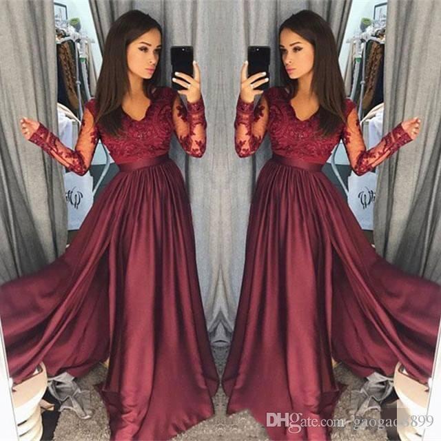 2019S pring Vintage A linha de cetim Prom vestidos mangas compridas V Neck Lace Top até o chão vestidos de festa à noite Wear robe de mariée