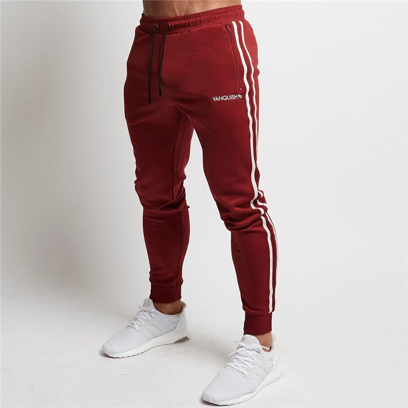 4635d49c 2019 2018 Red Jogging Pants Men Striped Sport Sweatpants Running Pants GYM  Pants Men Cotton Trackpants Fitness Jogger Bodybuilding Trouser From  Diegonovo, ...