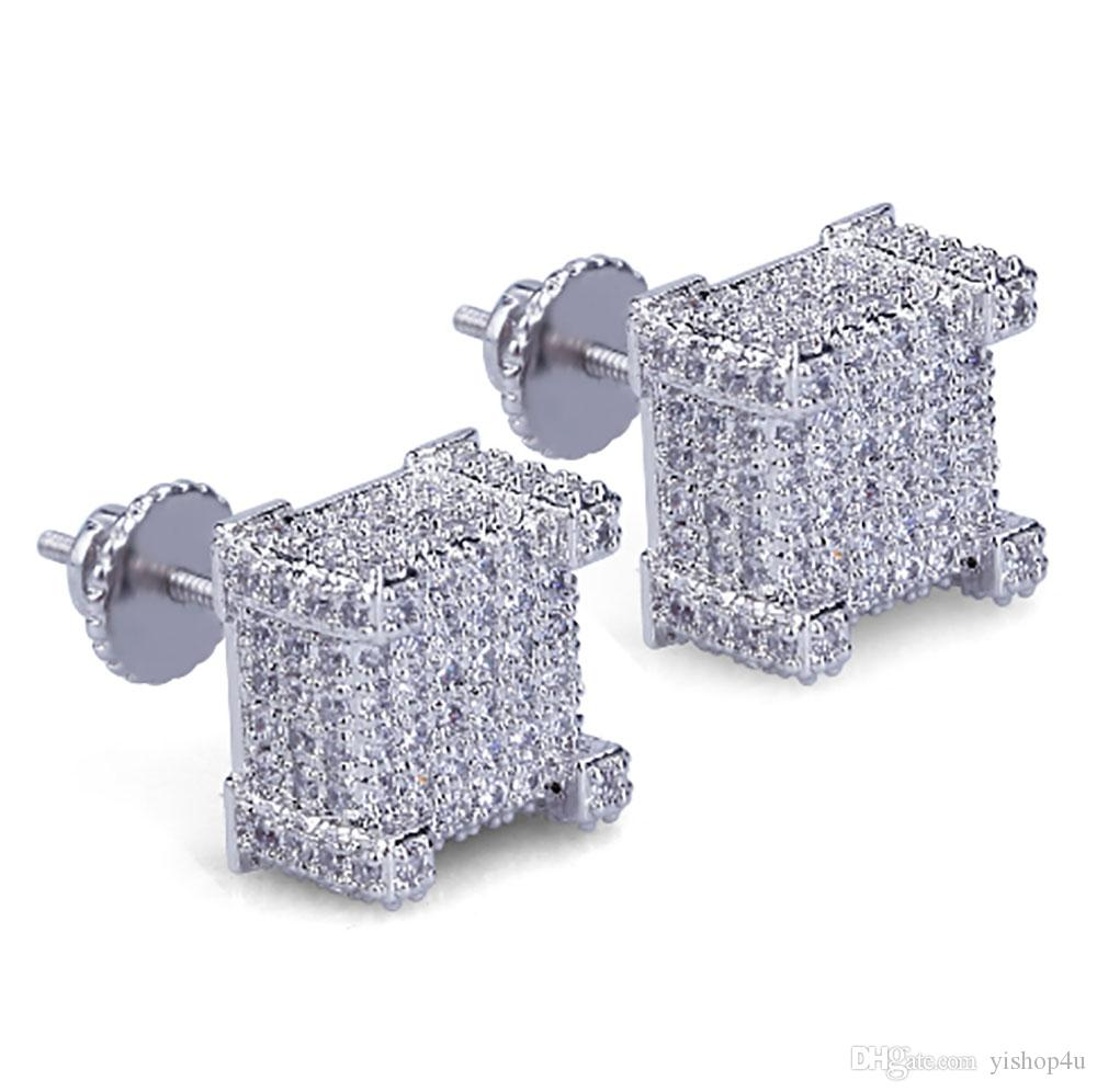 6c6454b83ad Box CZ Micro Pave Gold Silver Bling Bling Earrings Hip Hop Iced Out Big  Square Flat Screen Block Screw Back Stud Earring For Men and Women