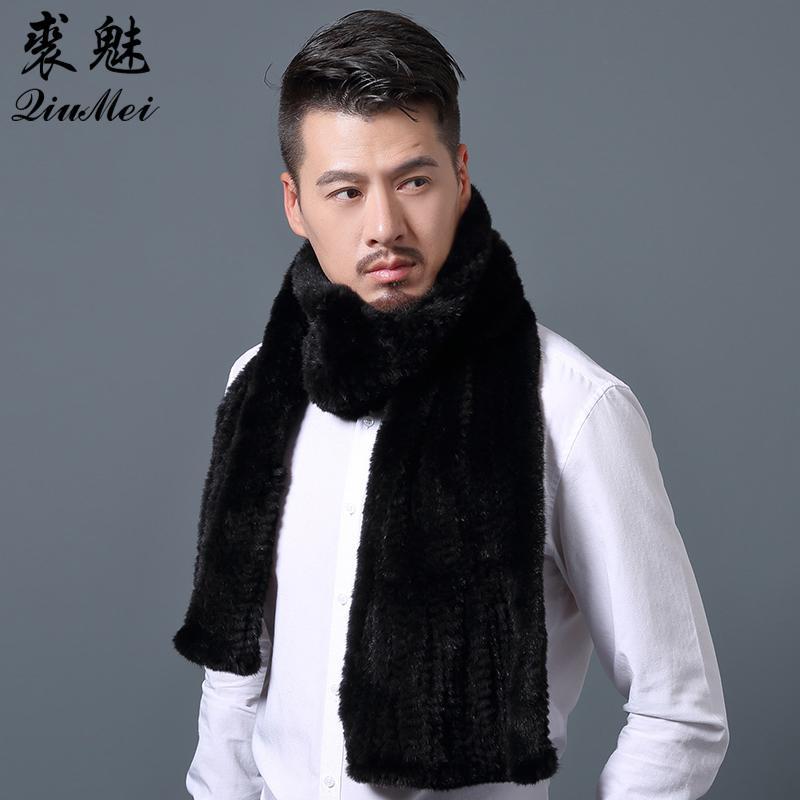 super popolare 0942c 118f9 Sciarpa di colore solido maschio Inverno Uomo Nuova moda Sciarpa di collo  di visone Sciarpa avvolge 180 cm Sciarpe di pelliccia nera reale per gli ...