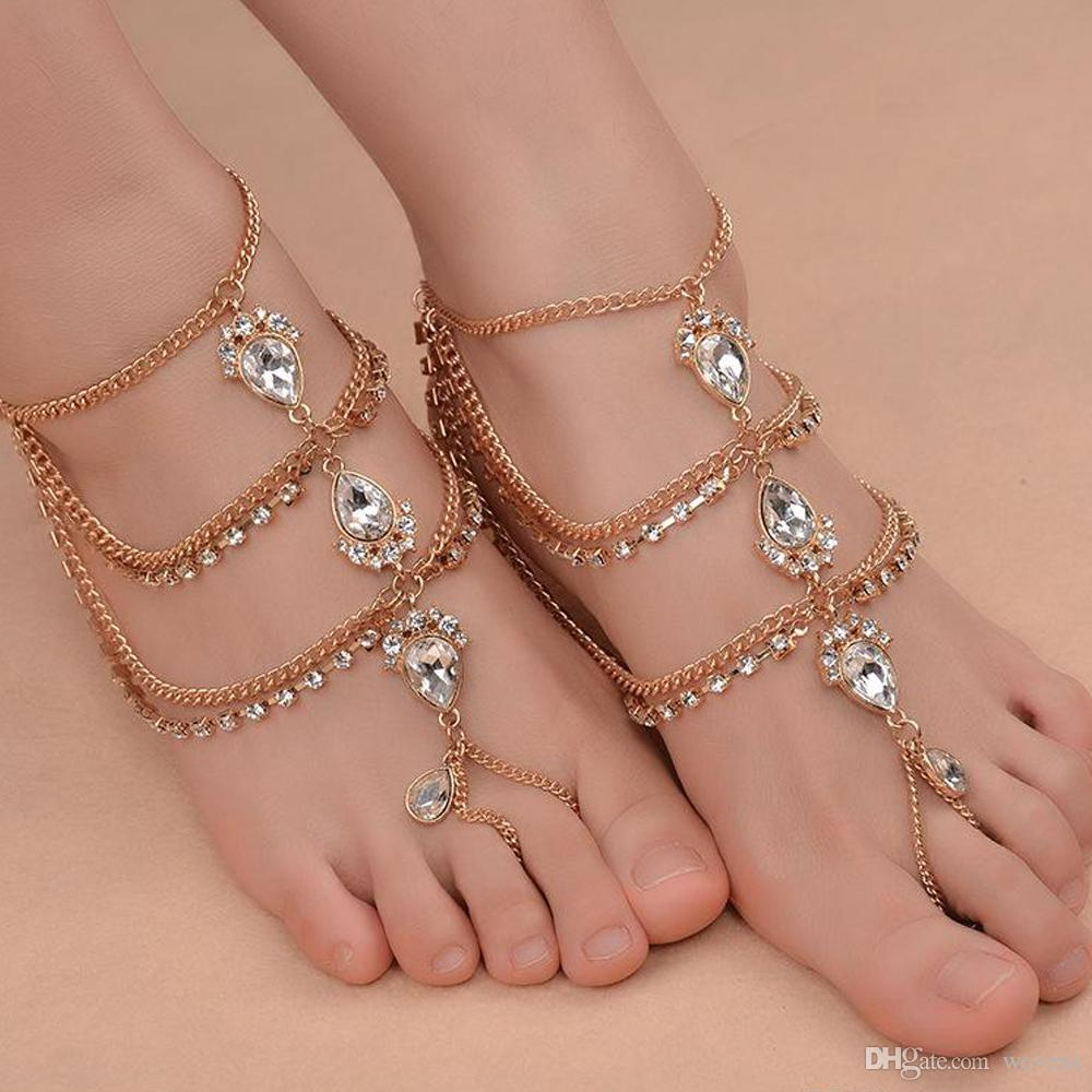 Fashion Rhinestone Barefoot Beach Sandals For Weddings Crystals Starfish Anklets Chain Toe Ring Bridal Bridesmaid Foot Jewelry