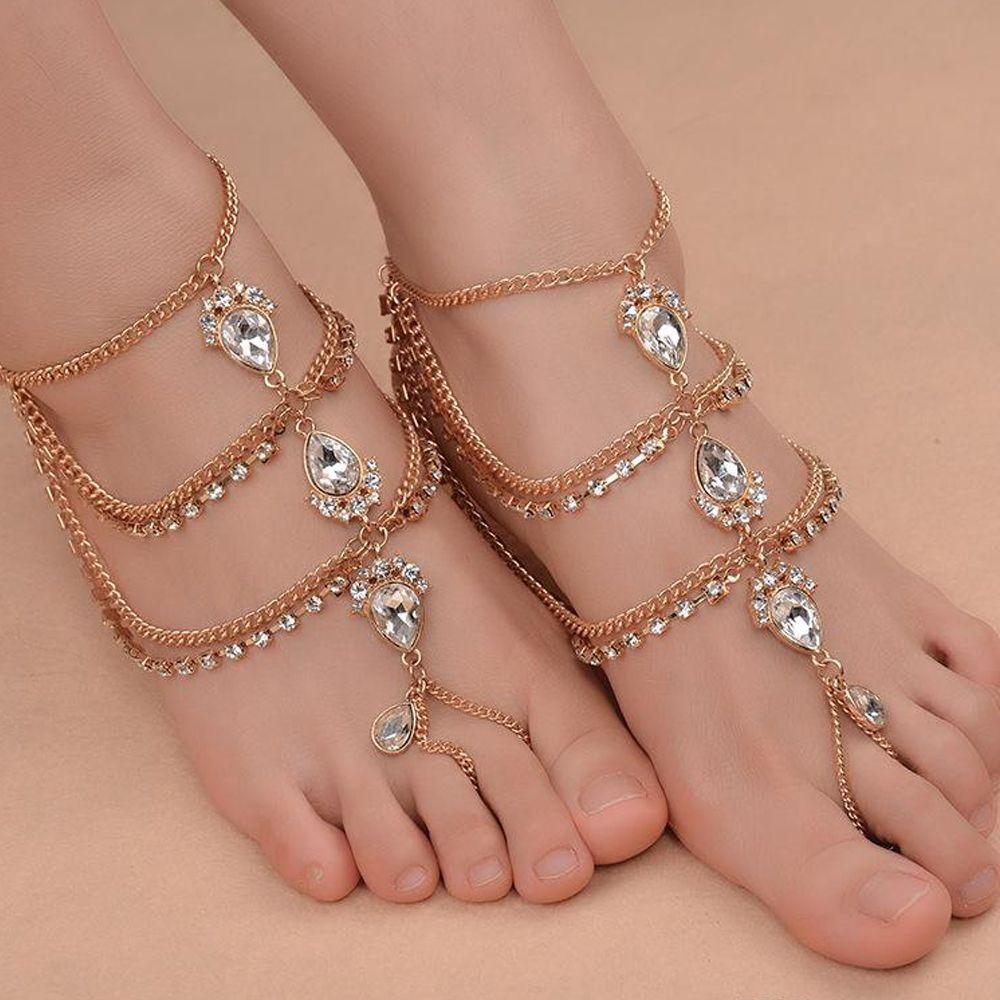 Mode Strass Barefoot Plage Sandales Pour Mariages Cristaux Starfish Cheville Chaîne Toe Anneau De Mariée Demoiselle D'honneur Pied Bijoux