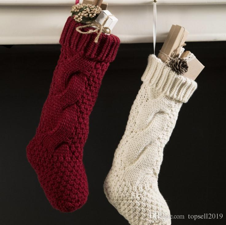 Christmas Stocking Long Crochet Knitted Xmas Stocking Xmas Tree Decorations Outdoor Christmas Decorations Festival Party Ornament Sn1589