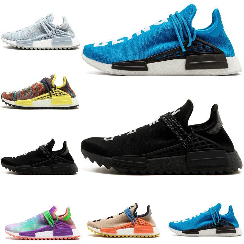 super popular eb64d 81db2 Hot sale Human Race Pharrell Williams Hu Trail NERD Men Womens Holi Running  Shoes Clouds Moon Noble Ink sports Shoes Size 5.5-11