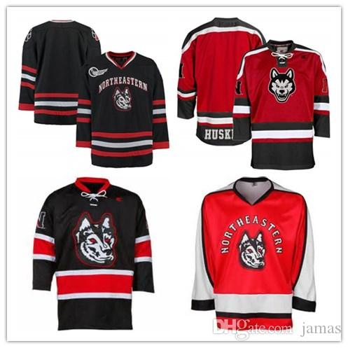 newest b62e3 be23c Custom XS-5XL Northeastern Huskies K1 Hockey Jersey Black Red Stitch Sewn  Any Player or Number Free Shipping