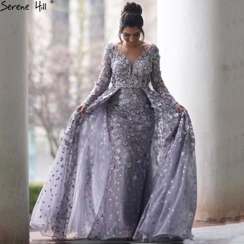 Long Sleeves Mermaid With Cap Evening Dresses New V-Neck Appliques ... bf145d8d221e