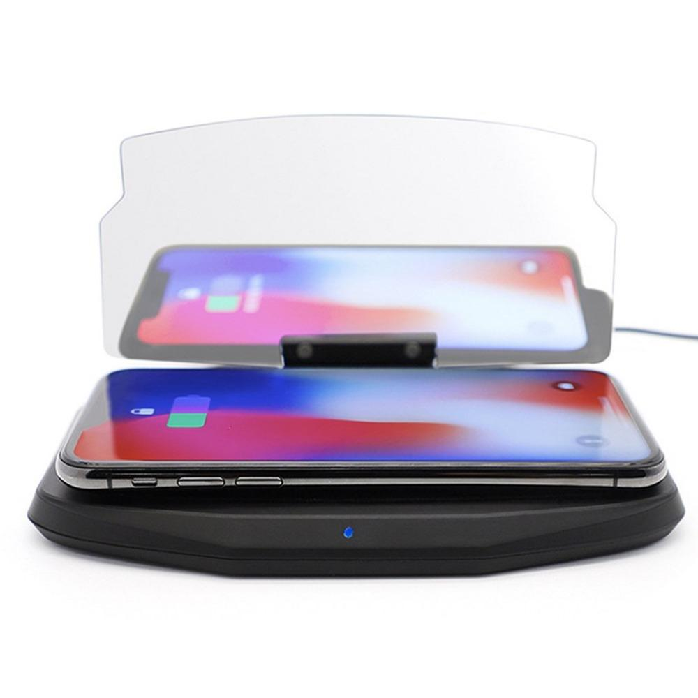 Qi Wireless Charger Car HUD Head Up Navigation Display Holder Charging Dock 180 Rotation LED Indicator Light Shockproof Pad