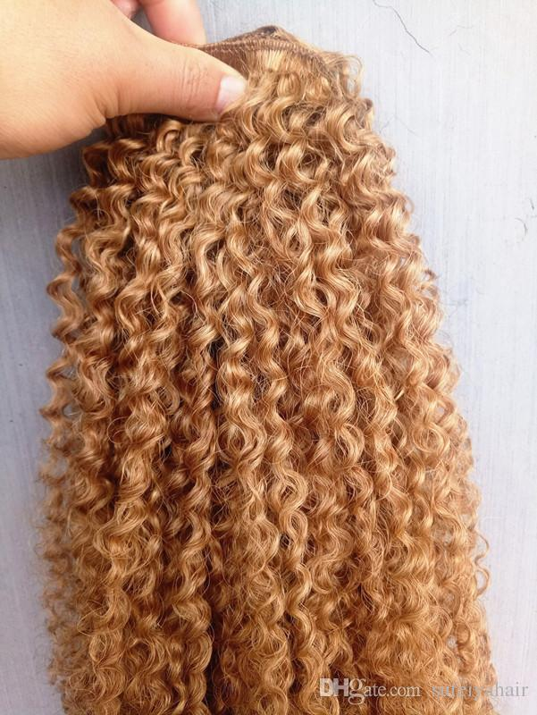 Brazilian Human Virgin Remy Brown 27# Hair Kinky Curly Hair Weft Soft Double Drawn Hair Extensions