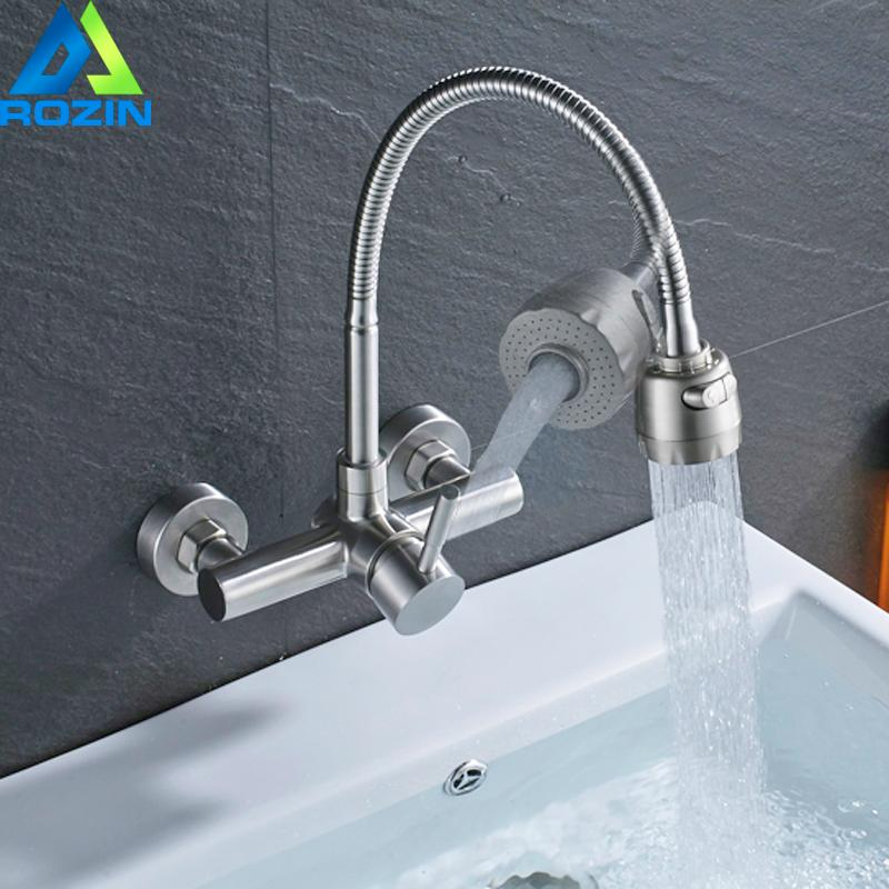 Wall Mounted Kitchen Faucet Single Lever Stream Sprayer Spout Hot And Cold Tap Brushed Nickel Bathroom Mixers Crane