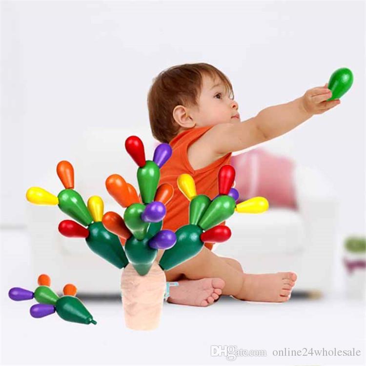 كتل خشبية الصبار الأطفال اليدوية الفسيفساء تجميع هدم مونتيسوري التعليمية لعبة كتل 0-3 سنة الفتيات الفتيان اللعب