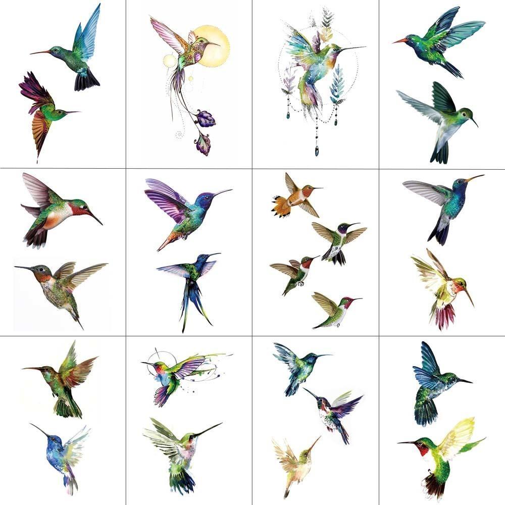 Tcool 12 Unids Bird Colibrí Etiqueta Engomada Del Tatuaje Temporal