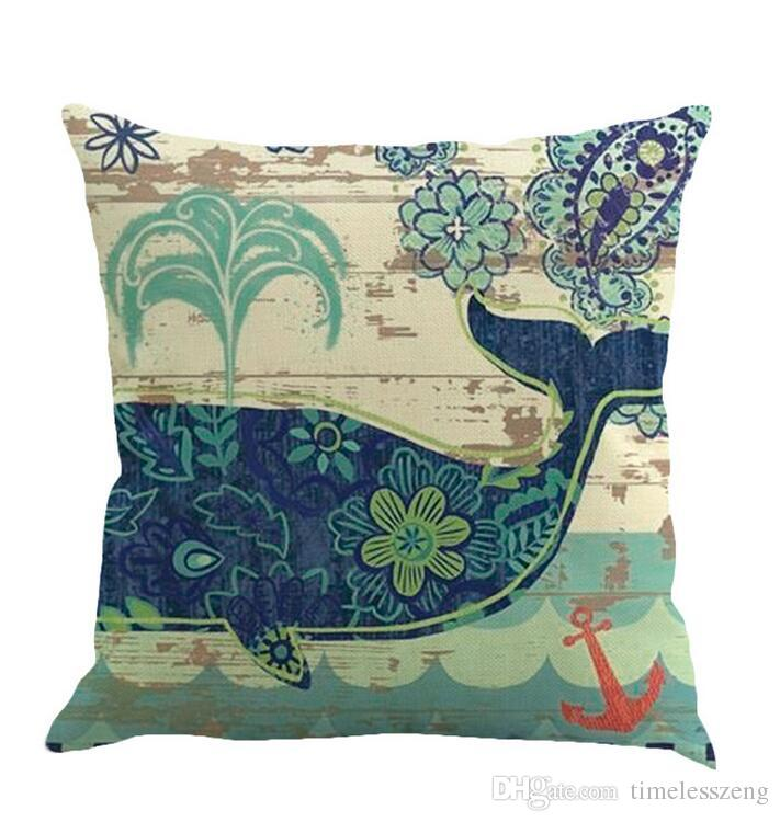 Cotton and linen pillow case conch turtle hippocampus pattern sofa cushion cover Home office pillowcase 45*45cm