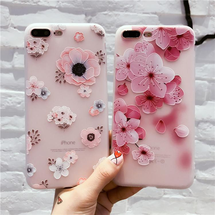 timeless design 91308 81920 Phone Case Flowers embossed phone shell iPhoneX78Plus Mobile Shell OPPO  R15/R11S Embossed Shell VIVO X21 Cute girl mobile phone case K109