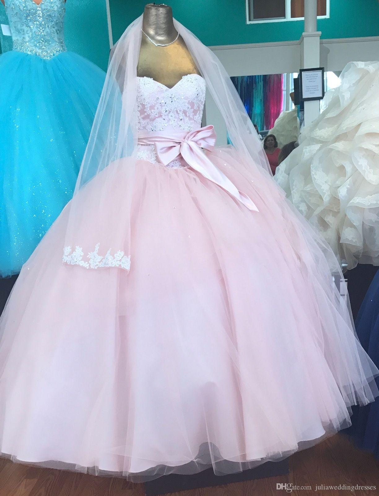 40de7739c4 2019 New Luxury Pink Bow Ball Gown Quinceanera Dresses Crystals For 15  Years Sweet 16 Plus Size Pageant Prom Party Gown QC1055