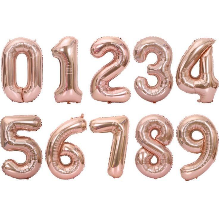 be05b002659a 40 zoll Rose Gold Brief Anzahl Folienballons Große Ziffer Helium Ballons  hochzeit zutaten Geburtstag Party Supplies Baby Shower dhl