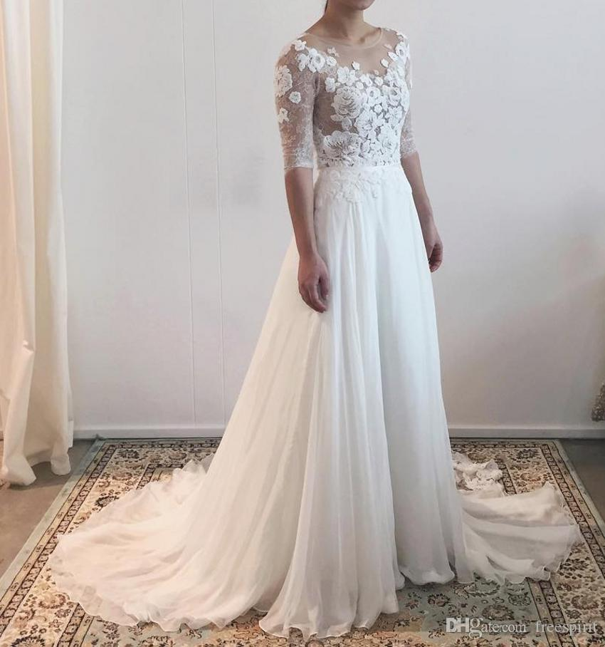 37e7854bed1d Discount Illusion Wedding Dress With Half Sleeve Jewel Neckline Backless A  Line Bridal Gown Beach Summer Style Customize Brides Dresses Cheap Wedding  ...
