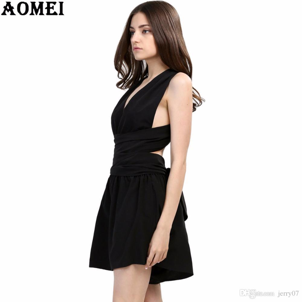 bf37c61dd3d 2018 Summer Beach Rompers Womens Jumpsuit Chiffon Sexy Fashion Sale Black Backless  Bodysuit Sexy Play Suits Macacao Female Wear Pink Cocktail Dresses Dress ...