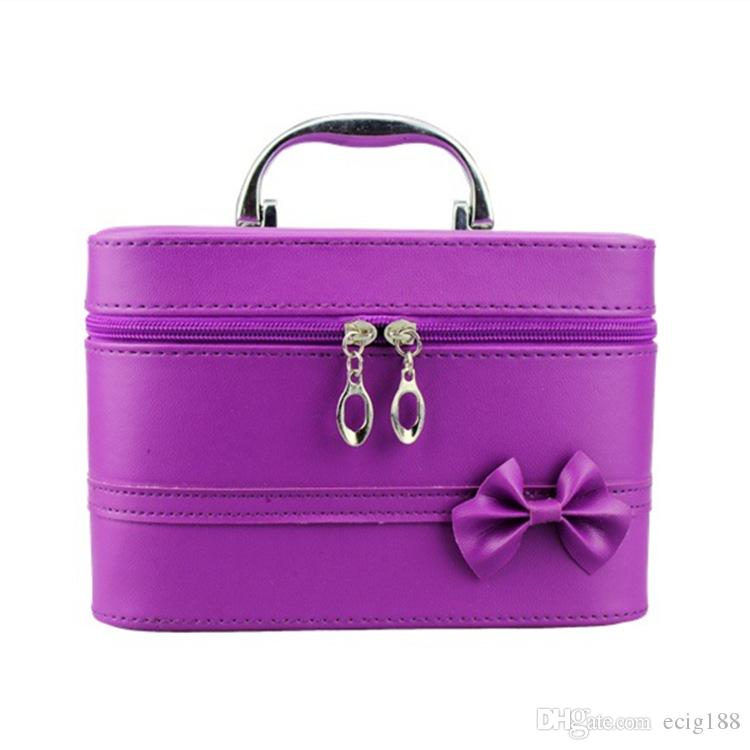 Travel Bowknot Leather Makeup Bags Cosmetic Case Women's Lady Handbag Purses Cosmetic Gift Purse Bag Colorful