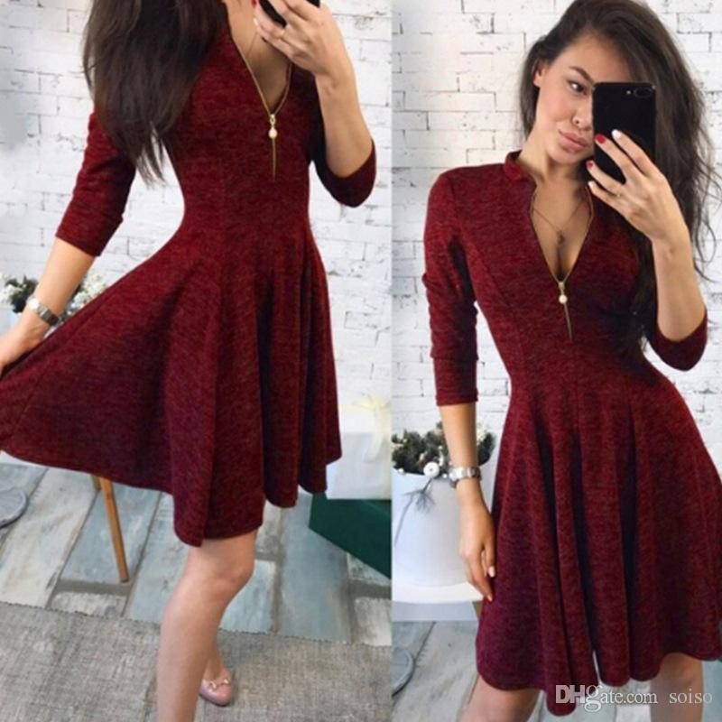 5b6baa502807f Women Sexy Casual Dress Fashion Zipper Slim Dress New Autumn Fashion Sexy  Charming deep V-Neck Mini Dress Half sleeve Party Dresses