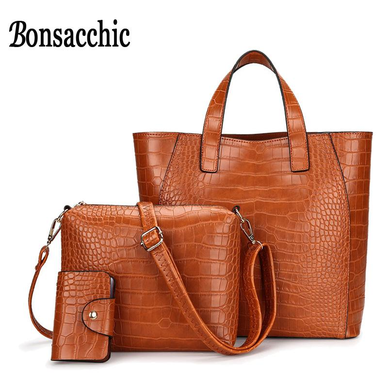 1a1764e865a Bonsacchic 3pcs Brown Leather Handbag Set Luxury Handbags Women Bags  Designer Tote Bag Set Small Crossbody Bags for Women 2018