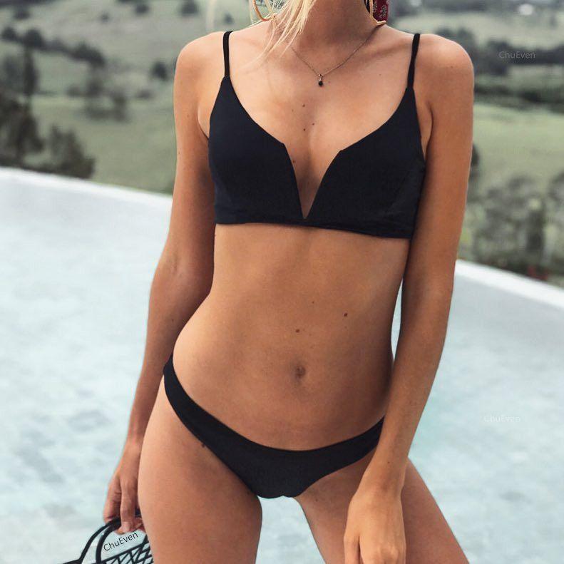 aa68b83e15d5f 2018 Push-Up Bandeau Bikini Swimwear Women Sexy Black Blue Red Bathing Suit  Padded Bikini Top Beachwear Swimming Wear YCSH0174 V-Neck Bikini Bandeau  Bikinis ...