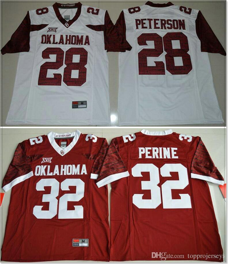 sports shoes 8a6ac 9177e New Oklahoma Sooners #28 Adrian Peterson 32 Samaje Perine Mens College  American Football Sports Shirts Jerseys Cheap Stitched Embroidery