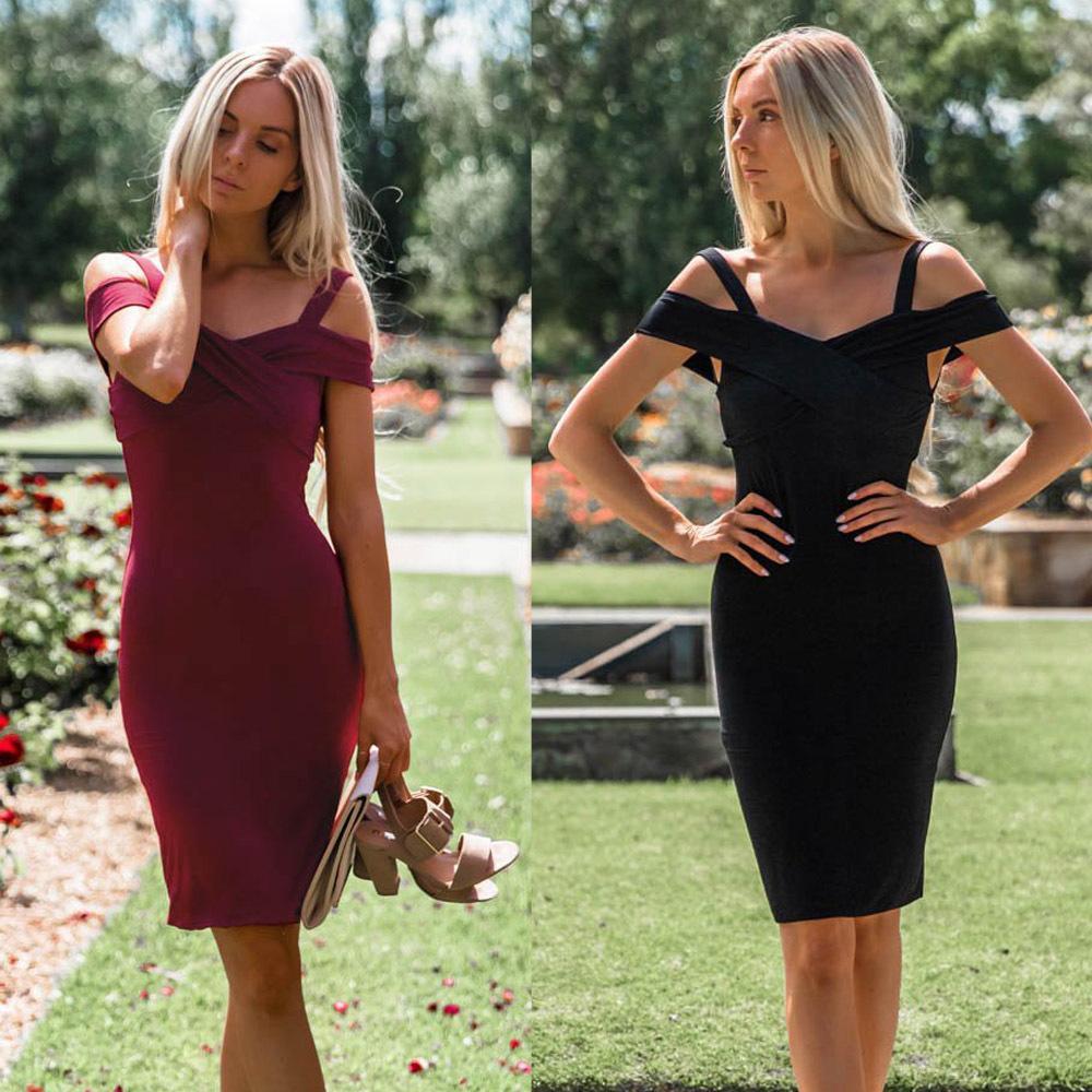 dd87649ba65e New Spring 2019 Fashion Elegant Women Sexy Dress V Neck Strapless Slim Party  Dress Off Shoulder Red Black Pencil Dress Vestidos Dresses For Women Summer  ...