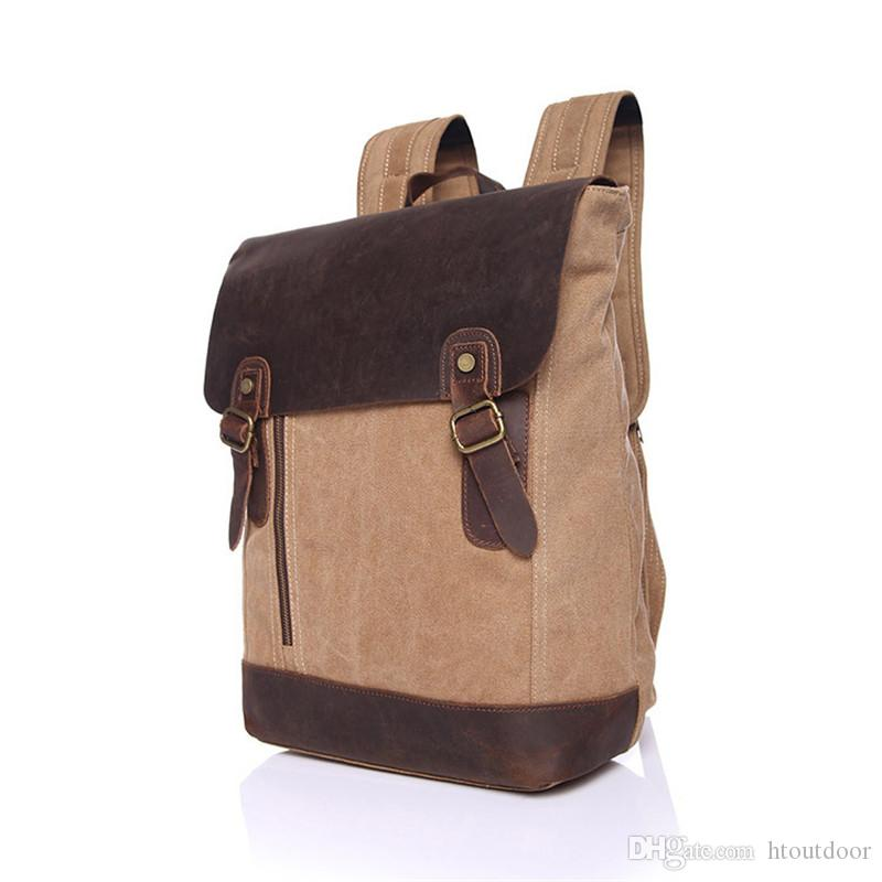 b8e0ff79dbf4 2019 Retro Canvas Leather Backpack Outdoor Camping Hiking Travel Shoulder  Bag Vintage Rucksack School Bag Satchel From Htoutdoor