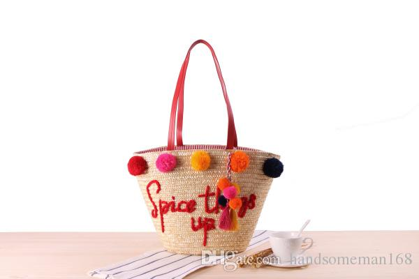 New Hand Embroidery Letter Shoulder Straw Bag Colorful Yarn Ball
