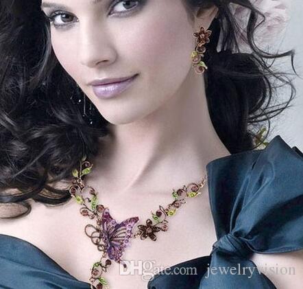Hot Europa Conjuntos de Jóias de Moda Do Vintage Borboleta Pingente de Strass Flores Elegante Colar Brincos