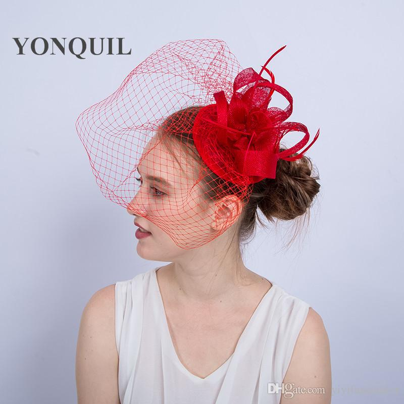NEW ARRIVAL Design Kentucky Sinamay Fascinators With Feather Lady Derby  Occasion Church Hats Women Bridal Wedding Headpieces SYF155 Ladies Hats  Online ... 6952572fc023
