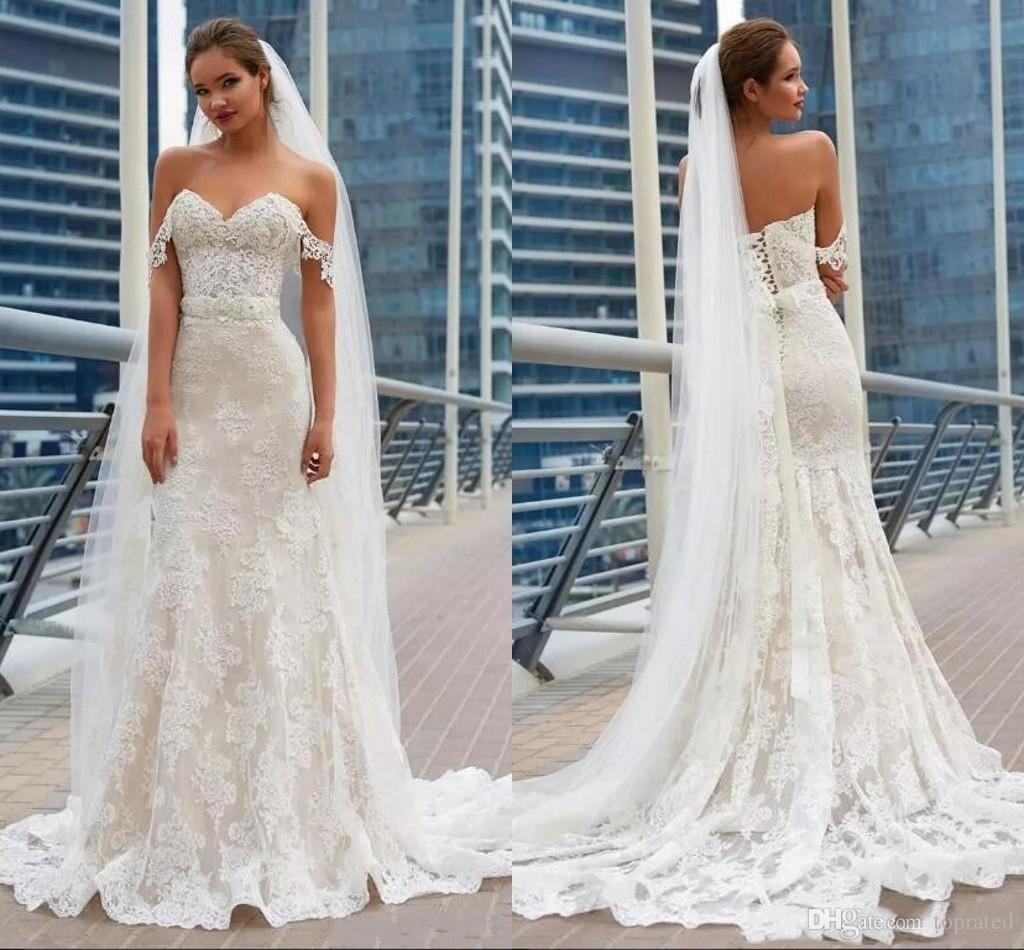2018 Cheap Generous Mermaid Lace Wedding Dresses Off Shoulder Full