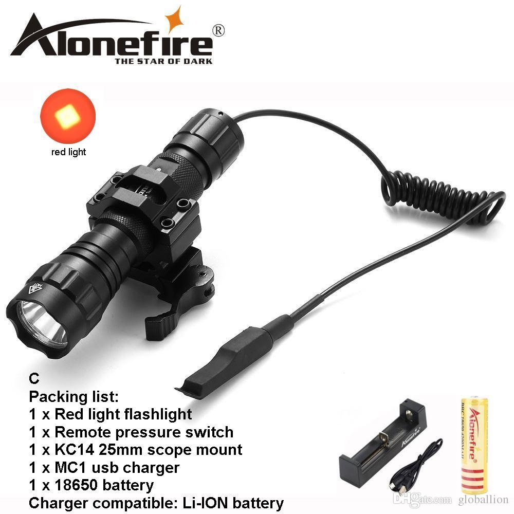 AloneFire 501Bs CREE red light Tactical Flashlight Hunting Torch self defense Camping Lamp+Tactical mount+Remote switch for 18650 battery