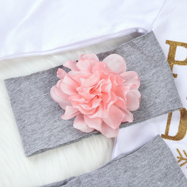 / set recém-nascido bebés Roupa manga comprida Romper Tops Calças Headband Hat Outfit conjunto bonito impressão Bodysuits florais