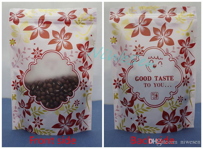 14x20cm Self-standing red flower printing plastic ziplock bag with window, matte clear pack clothes button zipper pouch