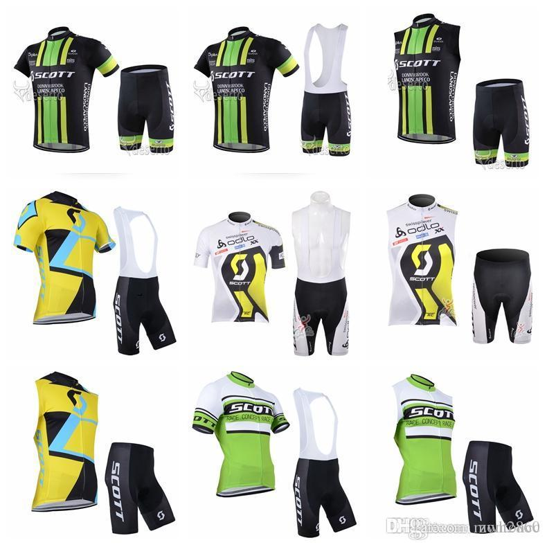 SCOTT team Short Sleeves (bib) shorts Sleeveless sets Mountain Bike Clothing Quick Dry Bicycle Men Free Shipping F703/
