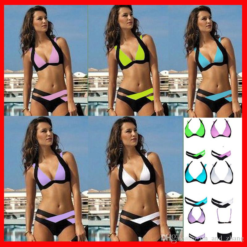f183e76a2e549 2019 Summer Sexy Bikini Women Patchwork Swimsuit 2018 Bandage Swimwear Best  Soft Swimsuits Bathing Suit Black And White Pink Purple Green From  Lin_and_zhang ...