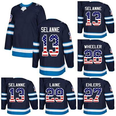 371e76f2006 2019 Cheap Custom Mens Momens Kids Winnipeg Jets 13 Teemu Selanne 26 Blake  Wheeler 27 Nikolaj Ehlers 29 Patrik Laine USA Flag Ice Hockey Jerseys From  ...