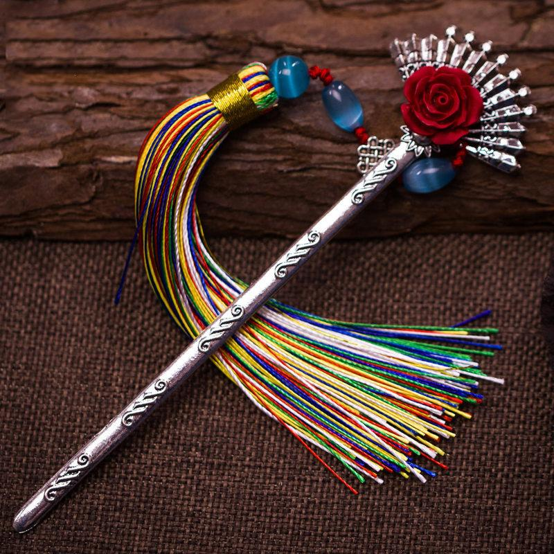 Chinese Style Retro Bookmark Classical Agate Silver Hair Pin Tassels Metal Bookmark Creative Book Holder Office Supply