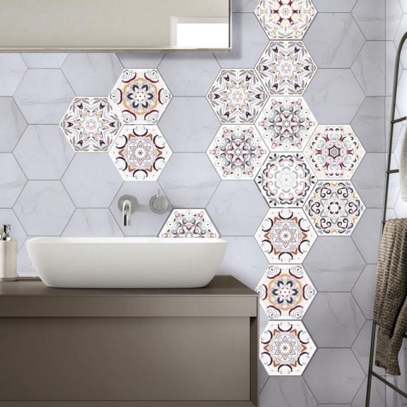Grosshandel 3d Fliesenaufkleber Geometrisch Hexagonal Abnehmbare