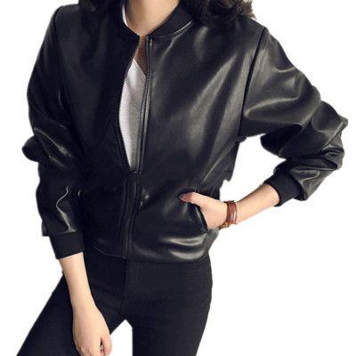Pu Leather Jacket Women Fashion Black Motorcycle Coat Short Faux