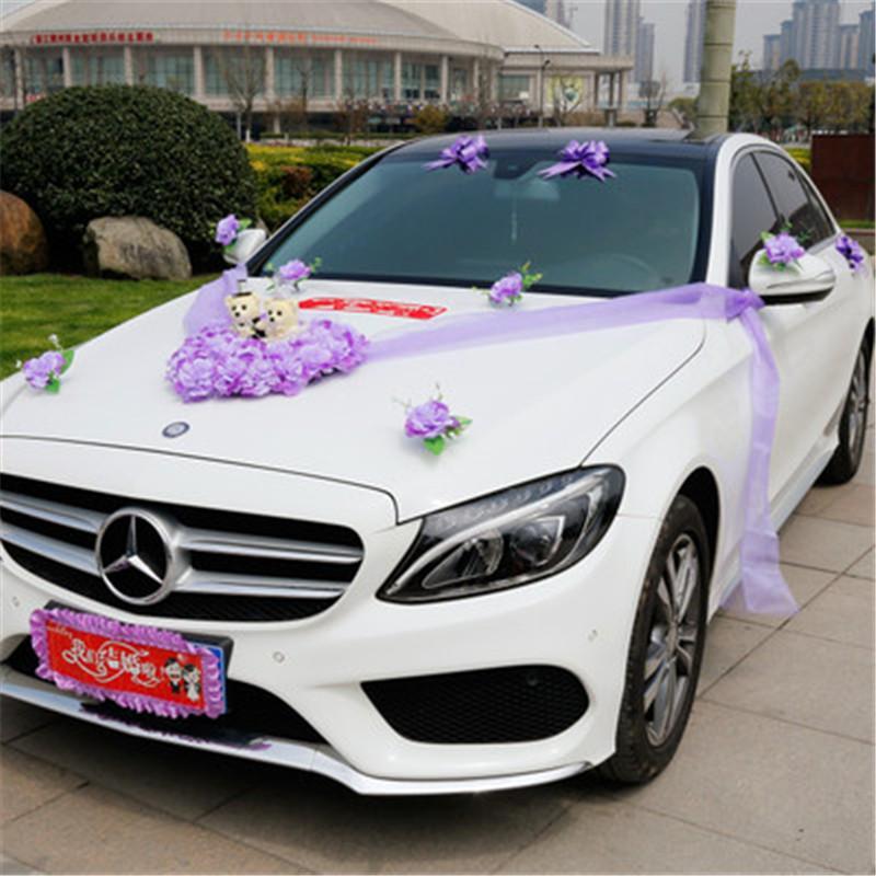 Grosshandel Hochzeit Auto Blume Dekorationen Set Kunstliche Blumen