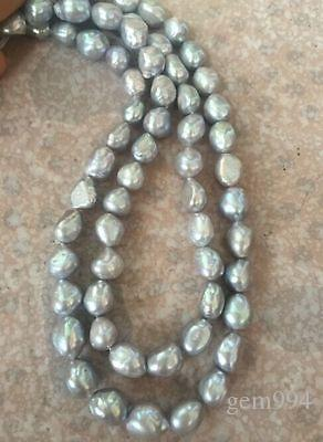 fbf7c53e530ef double strands 9-10mm south sea baroque grey pearl necklace 18
