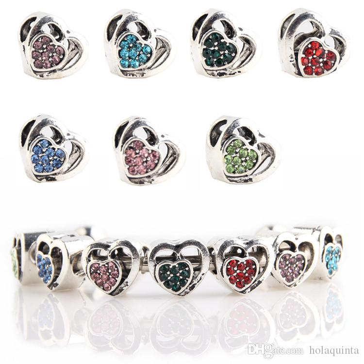 99fe1138f7 Hollow Out Beads Heart Shape Charms for Pandora bracelets Big Hole Full  Crystal Beads with Rhinestone Fashion DIY Jewelry Love Gift