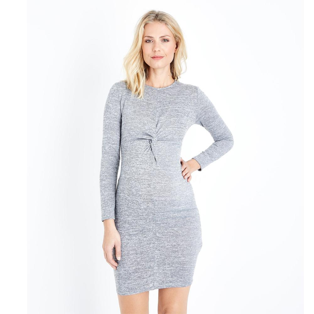 e1e6cd758d 2019 Long Sleeve Maternity Bottoming Dress Grey Fine Knit Twist Front  Bodycon Dresses For Pregnant Women Spring Autumn Mommy Clothes From  Localking